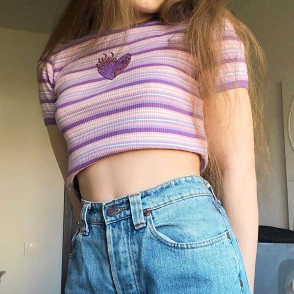 Pink Fire Heart Embroidery Crop Top Soft Girl Aesthetic