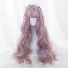 Pink Gold Long Wavy Hair Wig Cute Soft Girl Aesthetic