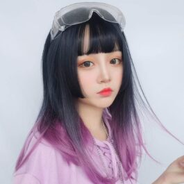 Purple Gradient Dark Straight Bang Wig Korean Aesthetic 1 - Orezoria Aesthetic Outfits Shop - eGirl Outfits - Soft Girl Outfits