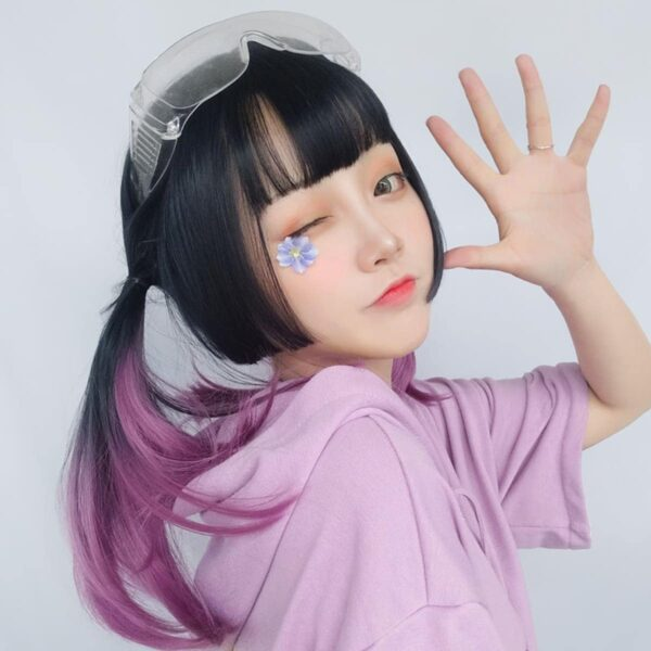 Purple Gradient Dark Straight Bang Wig Korean Aesthetic 2 - Orezoria Aesthetic Outfits Shop - eGirl Outfits - Soft Girl Outfits