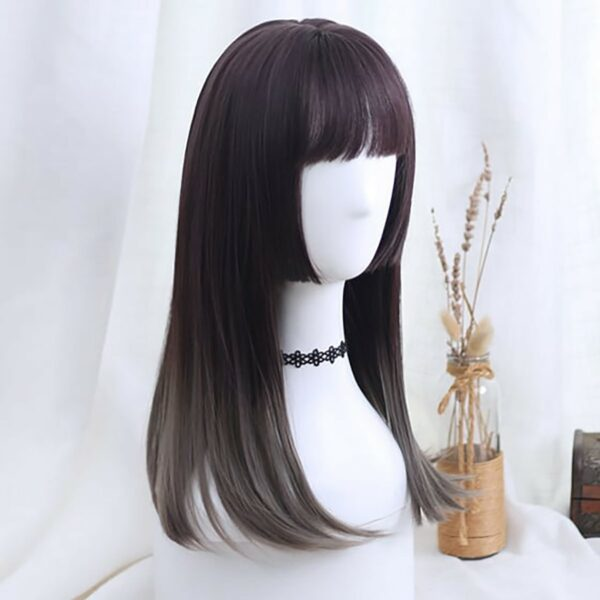 Purple Gradient Dark Straight Bang Wig Korean Aesthetic 4 - Orezoria Aesthetic Outfits Shop - eGirl Outfits - Soft Girl Outfits