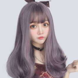 Purple Gray Straight Bang Lolita Wig Soft Girl Aesthetic 1 - Orezoria Aesthetic Outfits Shop - eGirl Outfits - Soft Girl Outfits
