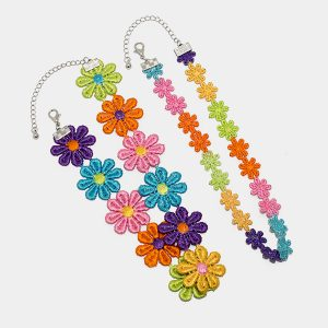 Rainbow Flower Choker Collar Necklace Soft Girl Aesthetic