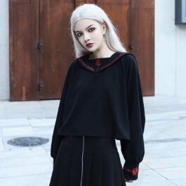 Rose Thorns Embroidery Long Sleeve Sailor Collar
