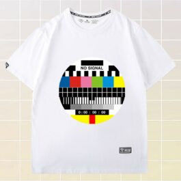 Round 80s TV No Signal Nostalgia T-Shirt 1 - Orezoria Aesthetic Outfits Shop - eGirl Outfits - Soft Girl Outfits