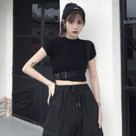 Shoulder Strap Crop Top Techwear Aesthetic