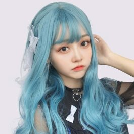 Sky Blue Long Curly Hair Wig Soft Girl Aesthetic 1 - Orezoria Aesthetic Outfits Shop - eGirl Outfits - Soft Girl Outfits