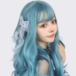 Sky Blue Long Curly Hair Wig Soft Girl Aesthetic 2 - Orezoria Aesthetic Outfits Shop - eGirl Outfits - Soft Girl Outfits
