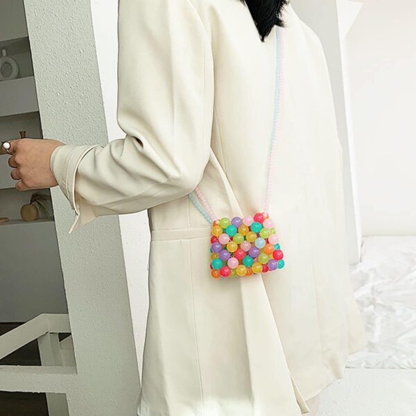 Soft Multicolor Beads Shoulder Bag Korean Style
