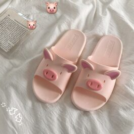 Soft Pink Cute Pig Slippers BabyGirl Aesthetic
