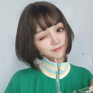 Straight Bang Bob Hair Wig Doomer Girl Aesthetic 1 - Orezoria Aesthetic Outfits Shop - eGirl Outfits - Soft Girl Outfits