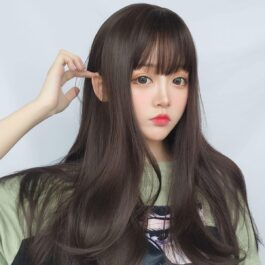 Straight Bang Long Brown Wig Cute Aesthetic 1 - Orezoria Aesthetic Outfits Shop - eGirl Outfits - Soft Girl Outfits