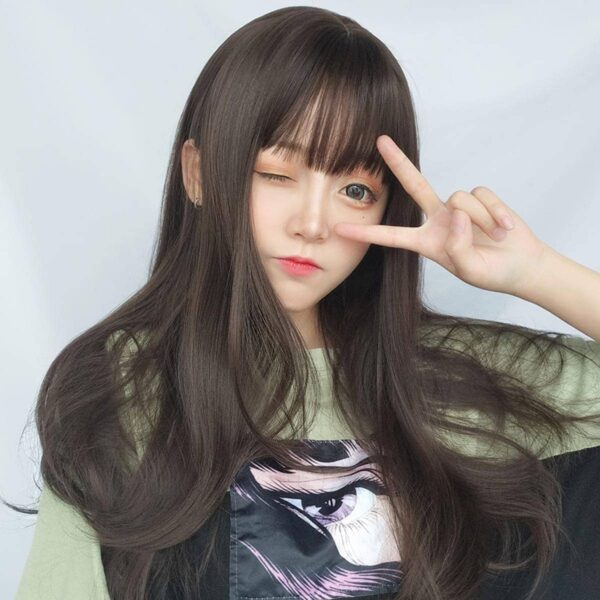 Straight Bang Long Brown Wig Cute Aesthetic 2 - Orezoria Aesthetic Outfits Shop - eGirl Outfits - Soft Girl Outfits