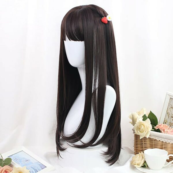 Straight Bang Long Brown Wig Cute Aesthetic 4 - Orezoria Aesthetic Outfits Shop - eGirl Outfits - Soft Girl Outfits