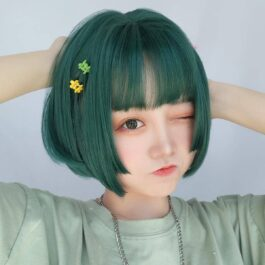 Teal Green Straight Bang Mathilda Wig eGirl Aesthetic 1 - Orezoria Aesthetic Outfits Shop - eGirl Outfits - Soft Girl Outfits