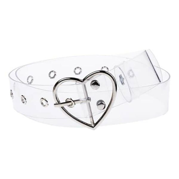 Transparent Heart Buckle Belt Cute Soft Girl Aesthetic