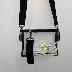 Transparent Shoulder Bag Black Nylon Y2K