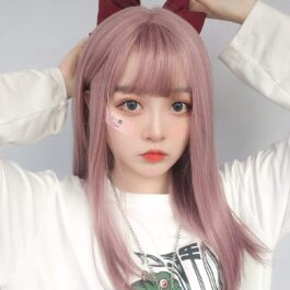 Vine Pink Straight Bang Hair Wig Soft Girl Aesthetic 1 - Orezoria Aesthetic Outfits Shop - eGirl Outfits - Soft Girl Outfits