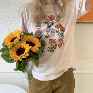 Wild Flowers Collage T-Shirt Artsy Aesthetic