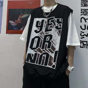 Yes or No Sleeveless Loose Vest Korean Style