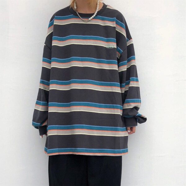 Retro Loose Blue Striped Long Sleeve 1- Orezoria Aesthetic Outfits Shop - Aesthetic Clothing - eGirl Outfits - Soft Girl Outfits