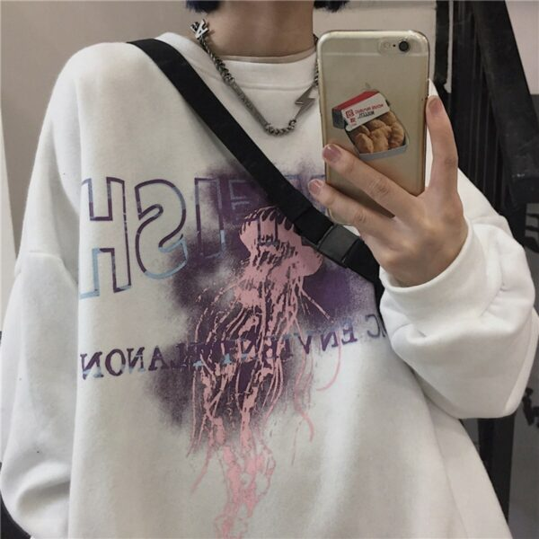 Jellyfish Harajuku Aesthetic Sweatshirt - Orezoria Aesthetic Outfits Shop - Aesthetic Clothing - eGirl Outfits - Soft Girl Outfits.ps