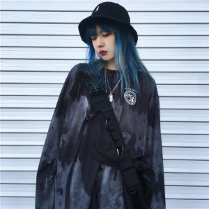 Gray Cloudy Drips Black Target Long Sleeve- Orezoria Aesthetic Outfits Shop - Aesthetic Clothing - eGirl Outfits - Soft Girl Outfits.psd