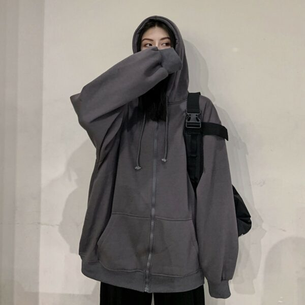 Warm Winter Loose Zipper BF Hoodie - Orezoria Aesthetic Outfits Shop - Aesthetic Clothing - eGirl Outfits - Soft Girl Outfits.psd