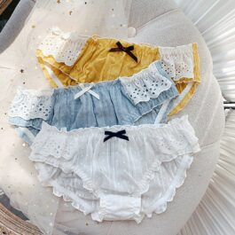 3 Color Ruffle Laced Cotton Soft Girl Panties 1- Orezoria Aesthetic Outfits Shop - eGirl Outfits - Soft Girl Outfits
