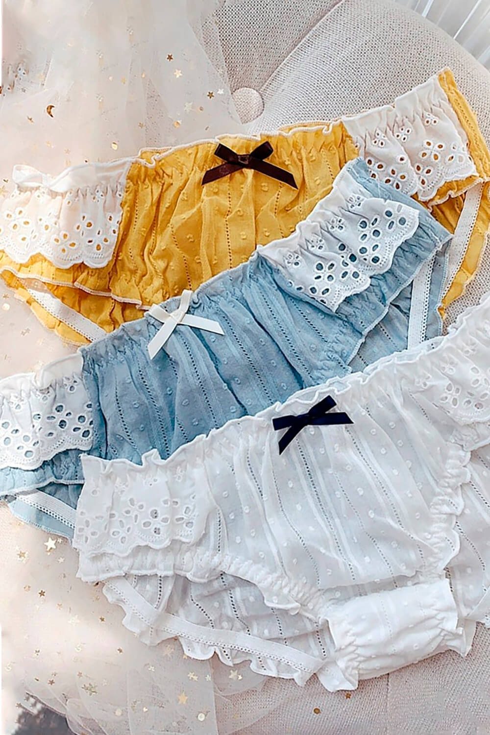 3 Color Ruffle Laced Cotton Soft Girl Panties
