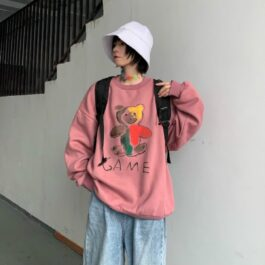 Game Bear Drawing Artsy Sweatshirt- Orezoria Aesthetic Outfits Shop - Aesthetic Clothing - eGirl Outfits - Soft Girl Outfits.psd