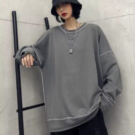 Oversized Solid Color Korean SweatshirtOrezoria Aesthetic Outfits Shop - Aesthetic Clothing - eGirl Outfits - Soft Girl Outfits.psd