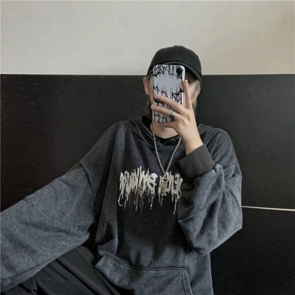 Melted Graffiti Dark Gray Hoodie Orezoria Aesthetic Outfits Shop - Aesthetic Clothing - eGirl Outfits - Soft Girl Outfits.psd