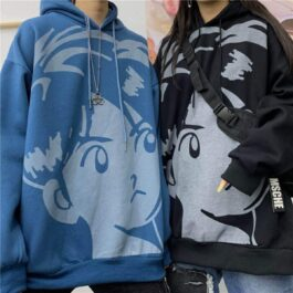 Retro Anime Boy Face Loose Hoodie - Orezoria Aesthetic Outfits Shop - Aesthetic Clothing - eGirl Outfits - Soft Girl Outfits.psd