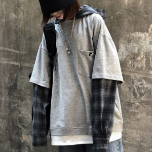Plaid Fake Sleeves Gray Loose Hoodie Orezoria Aesthetic Outfits Shop - Aesthetic Clothing - eGirl Outfits - Soft Girl Outfits.psd