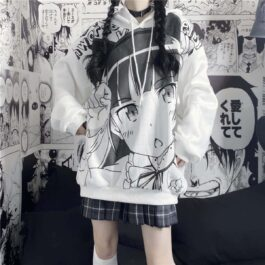 Anime Girl Knicking Whiмte Hoodie 1- Orezoria Aesthetic Outfits Shop - Aesthetic Clothing - eGirl Outfits - Soft Girl Outfits