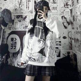Anime Girl Knicking White Hoodie 2- Orezoria Aesthetic Outfits Shop - Aesthetic Clothing - eGirl Outfits - Soft Girl Outfits