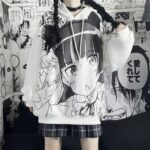 Anime Girl Knicking White Hoodie 3- Orezoria Aesthetic Outfits Shop - Aesthetic Clothing - eGirl Outfits - Soft Girl Outfits