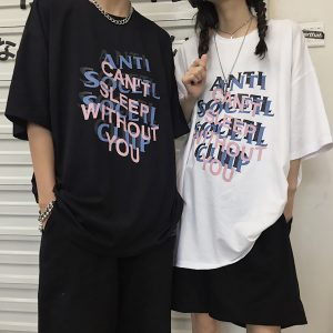 Anti Social Social Club Can't Sleep Without You T-Shirt 1- Orezoria Aesthetic Outfits Shop - eGirl Outfits - Soft Girl Outfits