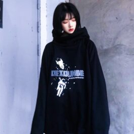 Astronaut Black Oversized Hoodie 2- Orezoria Aesthetic Outfits Shop - Aesthetic Clothing - eGirl Outfits - Soft Girl Outfits