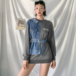 Asymmetrical Half Denim Y2K Sweatshirt