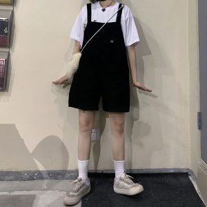 Black Denim Loose Romper KPOP Aesthetic 1- Orezoria Aesthetic Outfits Shop - eGirl Outfits - Soft Girl Outfits
