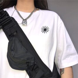 Black and White Sun Embroidery T-Shirt 1- Orezoria Aesthetic Outfits Shop - eGirl Outfits - Soft Girl Outfits