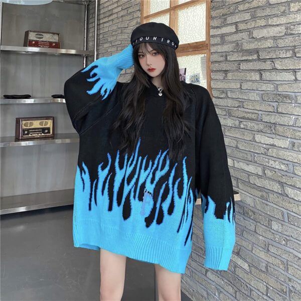 Blue Flame Leaks Fire Aesthetic Loose Sweater 1- Orezoria Aesthetic Outfits Shop - eGirl Outfits - Soft Girl Outfits