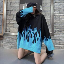 Blue Flame Leaks Fire Aesthetic Loose Sweater 2- Orezoria Aesthetic Outfits Shop - eGirl Outfits - Soft Girl Outfits