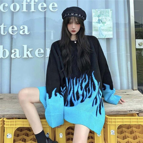 Blue Flame Leaks Fire Aesthetic Loose Sweater 3- Orezoria Aesthetic Outfits Shop - eGirl Outfits - Soft Girl Outfits