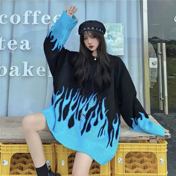 Blue Flame Leaks Fire Aesthetic Loose Sweater 4- Orezoria Aesthetic Outfits Shop - eGirl Outfits - Soft Girl Outfits