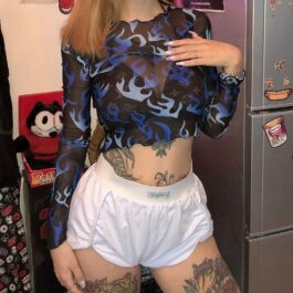 Blue Flame Leaks Mesh Crop Top Fire Aesthetic 1- Orezoria Aesthetic Outfits Shop - eGirl Outfits - Soft Girl Outfits