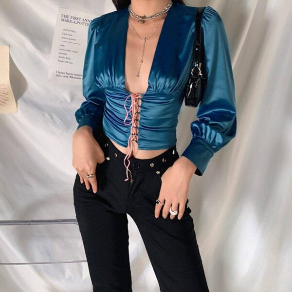 Blue Tie Waist Blouse Retro Aesthetic 1- Orezoria Aesthetic Outfits Shop - Aesthetic Clothing - eGirl Outfits - Soft Girl Outfits