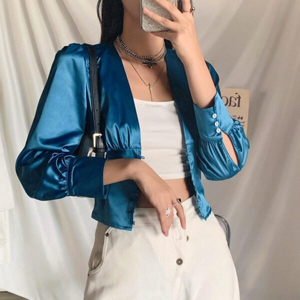 Blue Tie Waist Blouse Retro Aesthetic 3- Orezoria Aesthetic Outfits Shop - Aesthetic Clothing - eGirl Outfits - Soft Girl Outfits